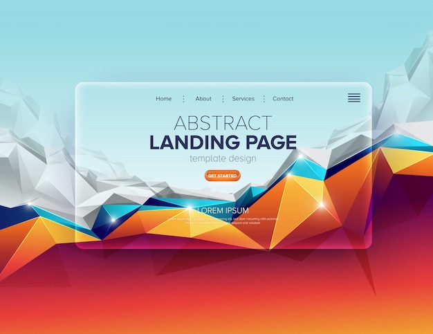 Abstract landing page design Premium Vector