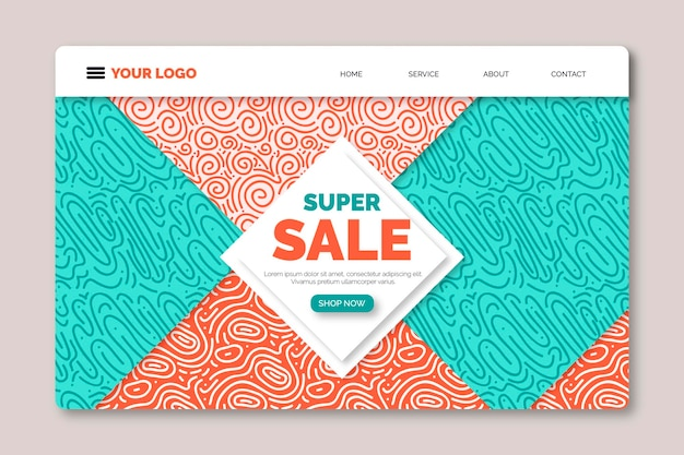 Abstract landing page for sales promo Free Vector