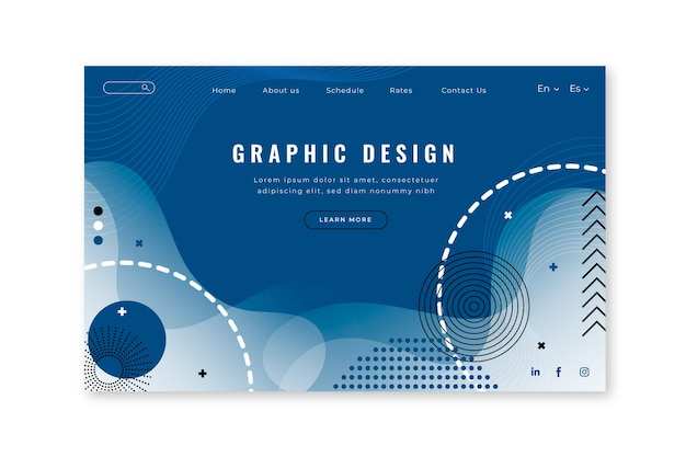 Abstract landing page template on classic blue color Free Vector