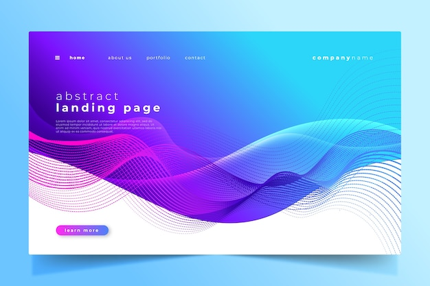Abstract landing page template design Free Vector | ui ux online course
