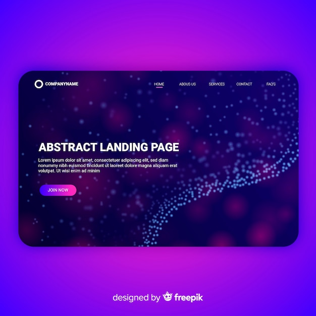 Abstract landing page template Free Vector