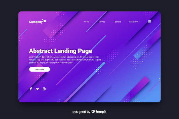 Abstract landing page with 3d diagonal lines Free Vector