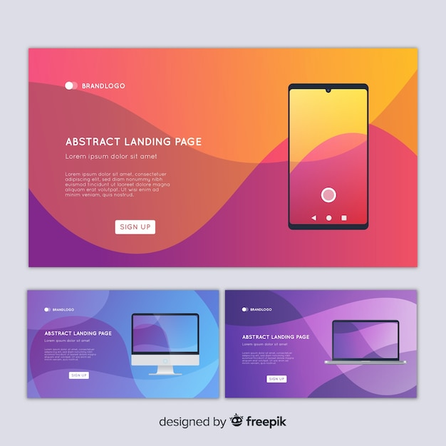 Abstract landing page with devices Free Vector