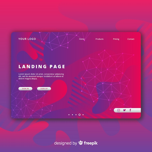 Abstract landing page with fluid shapes Free Vector