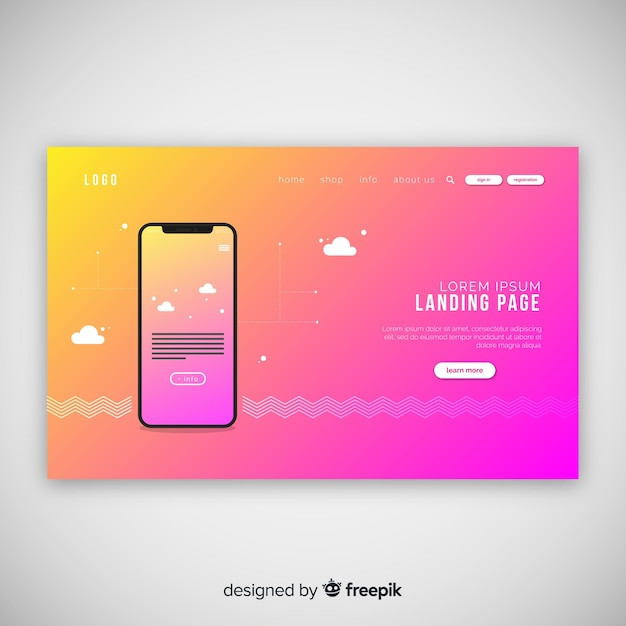 Abstract landing page with technology devices Free Vector