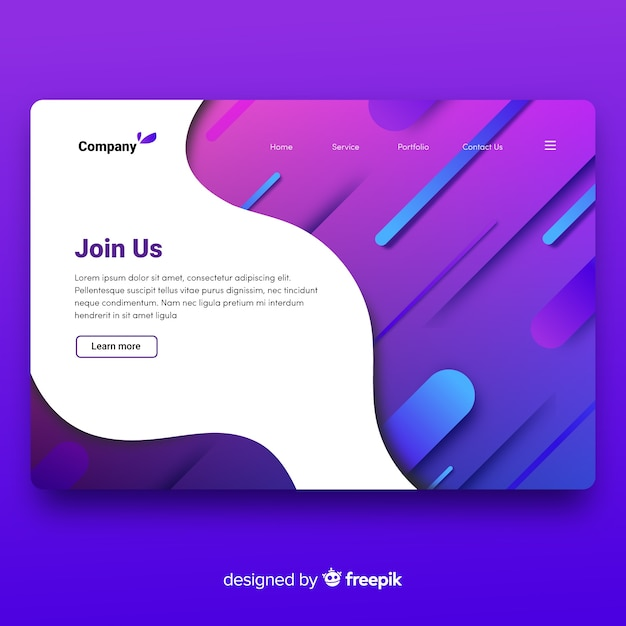 Abstract landing page Free Vector