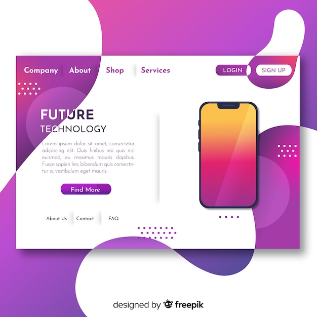 Abstract landing pages with technology devices Free Vector