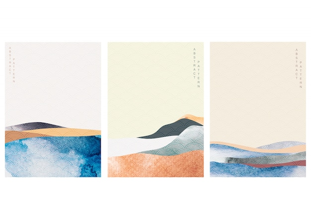 Abstract landscape background with japanese wave pattern  . watercolor texture in asian style. mountain forest template illustration. Premium Vector