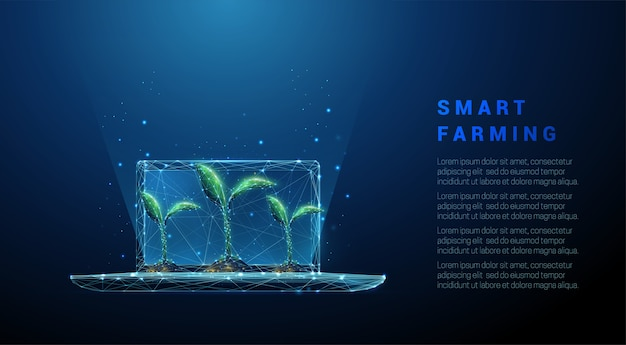 Abstract laptop with green plants. smart farming concept. low poly style design. blue geometric background. wireframe light connection structure. modern  . isolated . Premium Vector