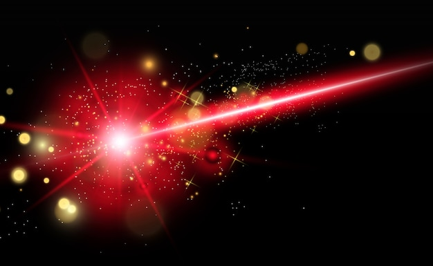 Abstract laser beam. transparent isolated on black background.  . Premium Vector