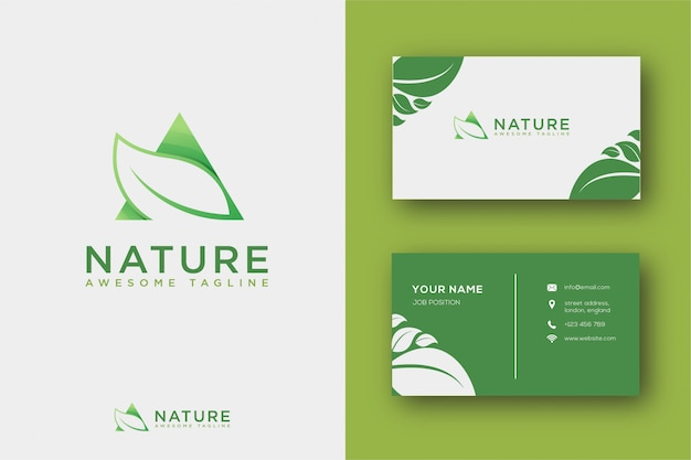 Abstract leaf logo and business card Premium Vector