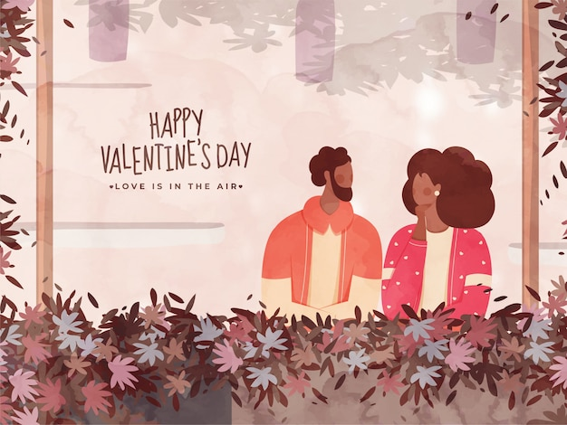 Abstract leaves decorated border watercolor  with faceless couple character for happy valentine's day, love is in the air . Premium Vector