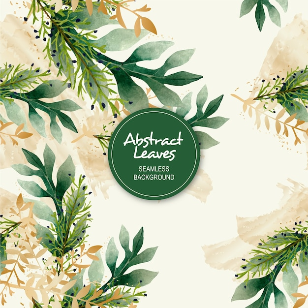 Abstract leaves watercolor seamless background Premium Vector