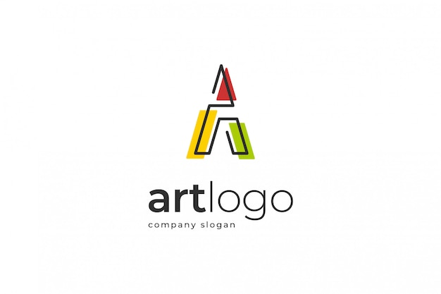 Abstract letter a logo template Premium Vector