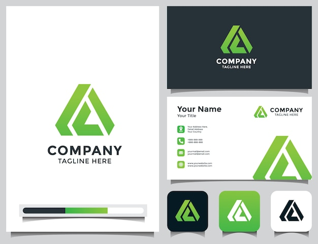 Abstract letter a logo with business card Premium Vector
