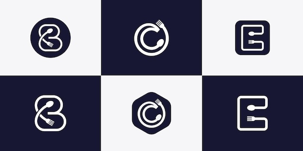 Abstract letter logo with spoon and fork concept premium vector Premium Vector