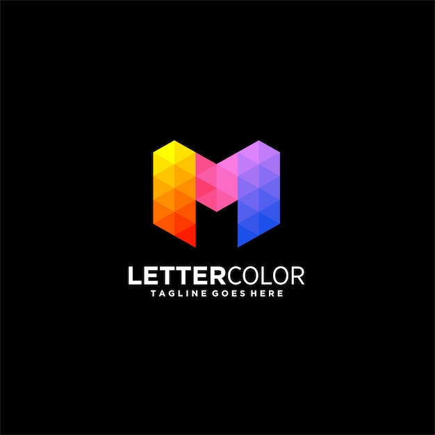 Abstract letter m gradient colorful illustration  logo. Premium Vector