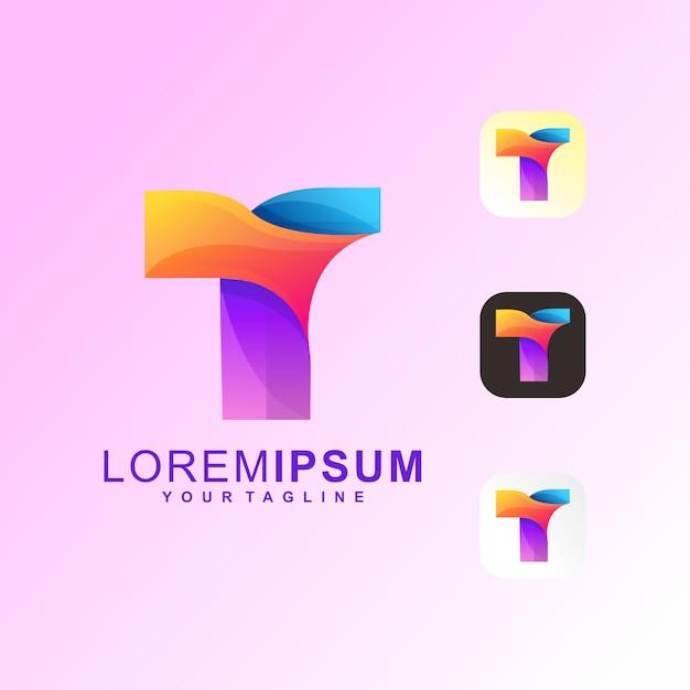 Abstract letter t premium logo vector Premium Vector