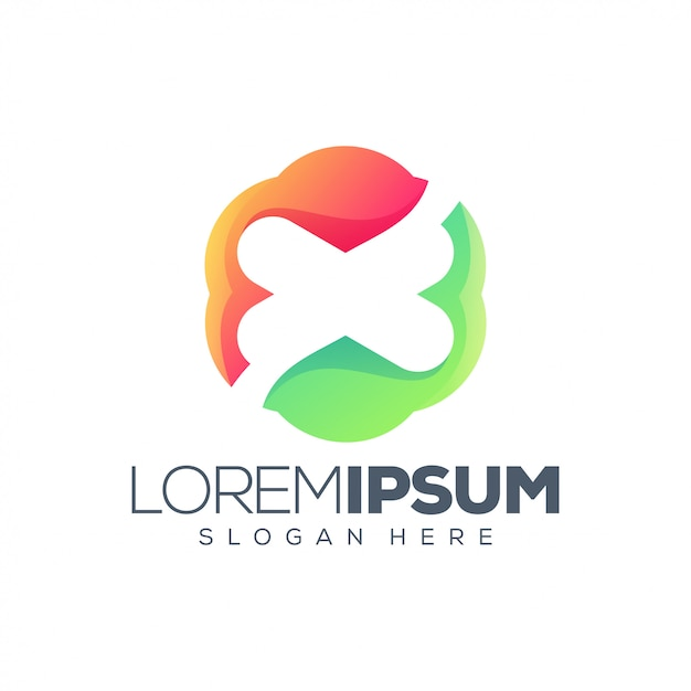 Abstract letter x logo template Premium Vector