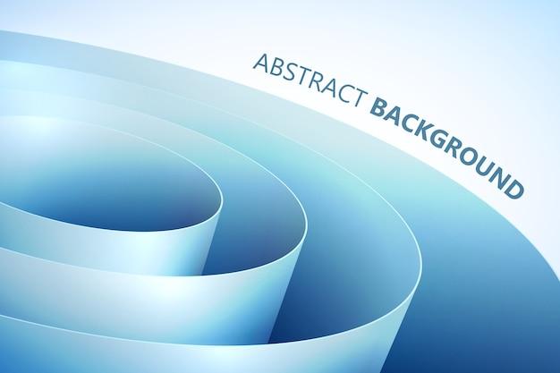 ロールスタイルの青い湾曲した包装紙と抽象的な明るい背景 無料ベクター