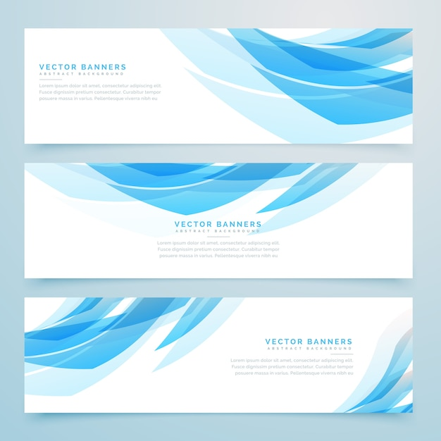Abstract light blue banners set Free Vector