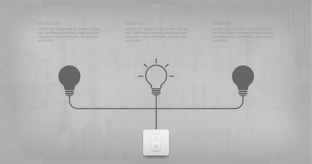 Abstract light bulb symbol and light switch on concrete wall ... on symbol for headlight, symbol for fuel tank, symbol for faucet, symbol for distributor, symbol for screw, symbol for remote control, symbol for condenser, symbol for button, symbol for cable, symbol for brake, symbol for light resistor, symbol for frame, symbol for grill, symbol for tachometer, symbol for hammer, symbol for fluorescent light, symbol for muffler, symbol for electric outlet, symbol for pilot light, symbol for wall light,