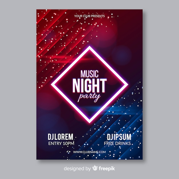 Abstract light effect muscic poster template Free Vector
