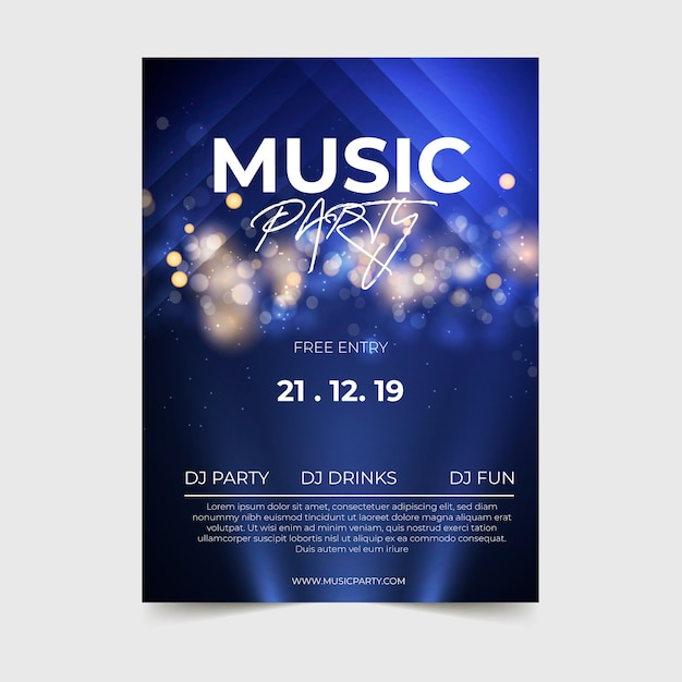 Modello astratto del manifesto di musica di effetto della luce Vettore gratuito