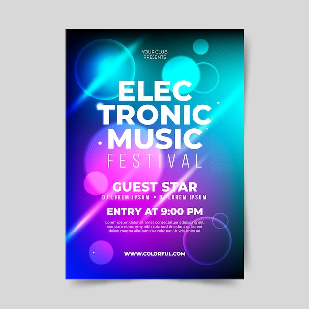 Abstract light effect music poster template Free Vector