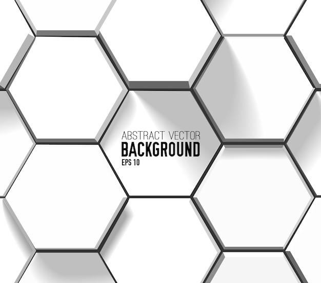 Fondo geometrico leggero astratto con esagoni 3d bianchi nello stile del mosaico Vettore gratuito