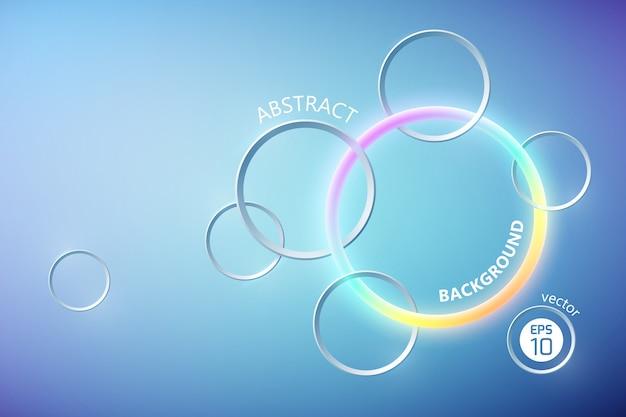 Абстрактный световой плакат с красочным неоновым кольцом и серыми кругами Бесплатные векторы