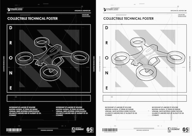 Абстрактная линия и точка дрон. каркасный стиль. Premium векторы