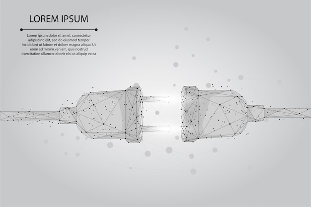 Абстрактная линия и точка электрическая розетка с вилкой. многоугольная концепция подключения и отключения. низкополигональная иллюстрация Premium векторы