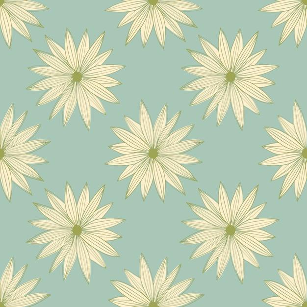 파란색 배경에 추상 라인 아트 버드 데이지 원활한 패턴입니다. 기하학적 꽃 벽지. 프리미엄 벡터