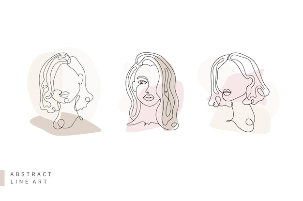Abstract line art collection laconic tricolor woman face Premium Vector