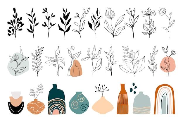 花の要素を持つ抽象的なラインアートコレクション Premiumベクター