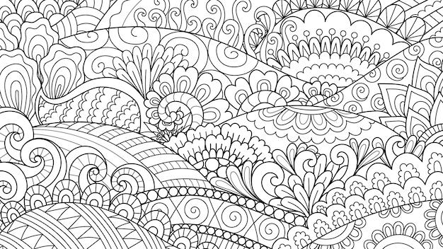 Абстрактные линии искусства для фона, книжка-раскраска для взрослых, раскраски страницу иллюстрации Premium векторы