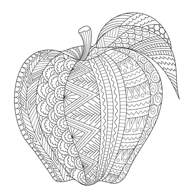Абстрактная линия искусства яблока для взрослых книжка-раскраска Premium векторы