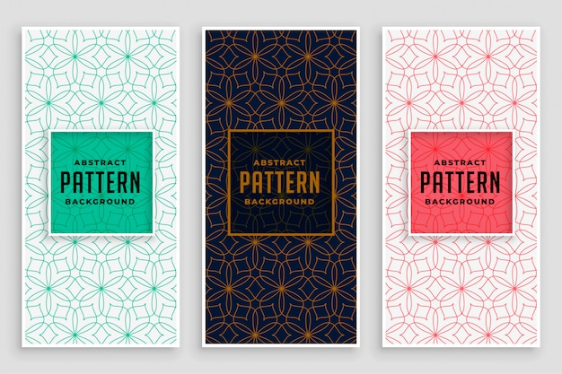 Abstract line florals pattern banner design Free Vector