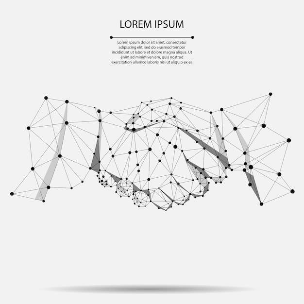 Abstract line point agreement handshake Premium Vector