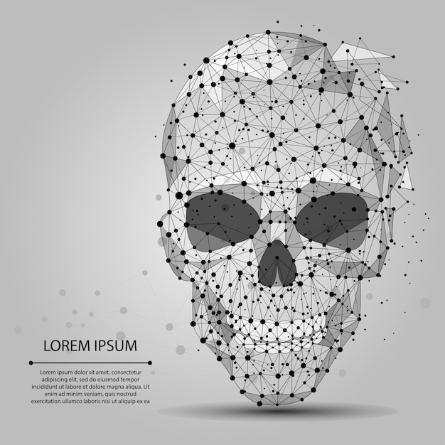 Abstract line and point grey skull Premium Vector