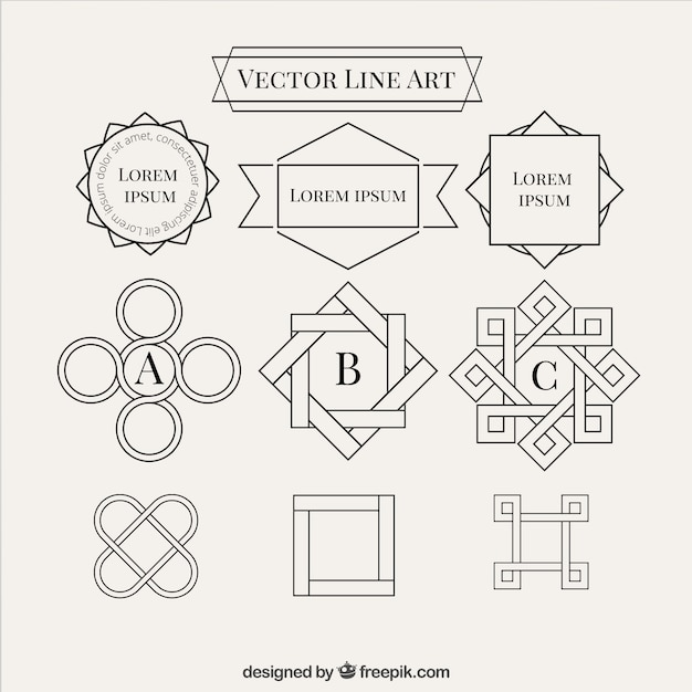 Line And Shape Art : Abstract line shapes collection vector free download