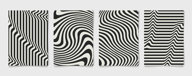 포스터의 추상 라인 물결 모양의 검은 색과 회색 디자인 템플릿을 설정합니다. 웨이브 디자인 장식 연간 표지. 프리미엄 벡터