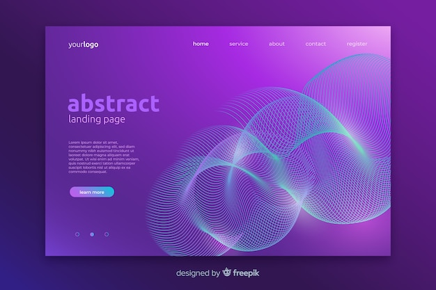Abstract lineal shapes landing page template Free Vector