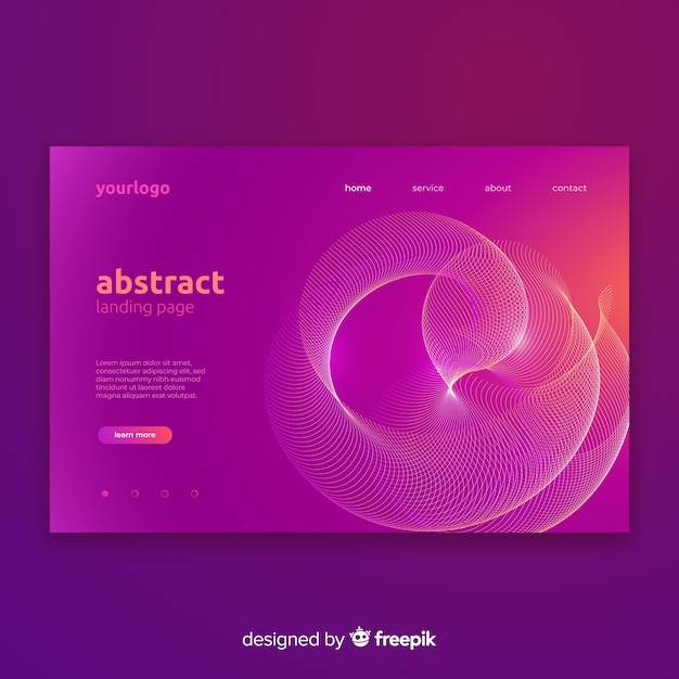 Abstract lineal shapes landing page Free Vector