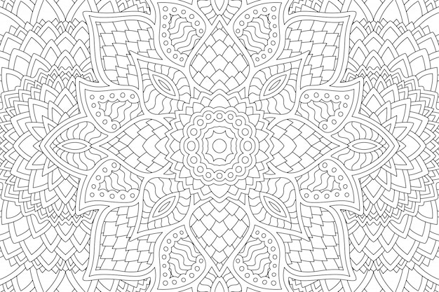Abstract linear zen design for coloring book page Premium Vector