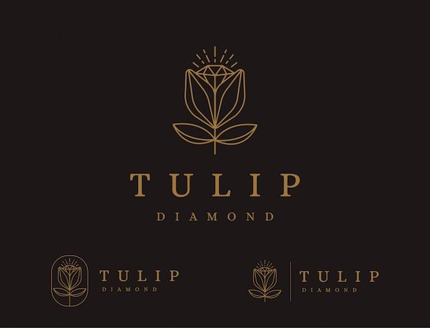 Абстрактная линия логотипа цветка тюльпана Premium векторы