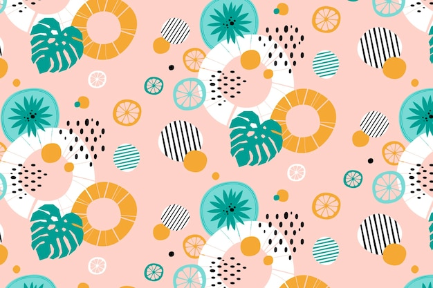 Abstract lines and dots summer background pattern Free Vector