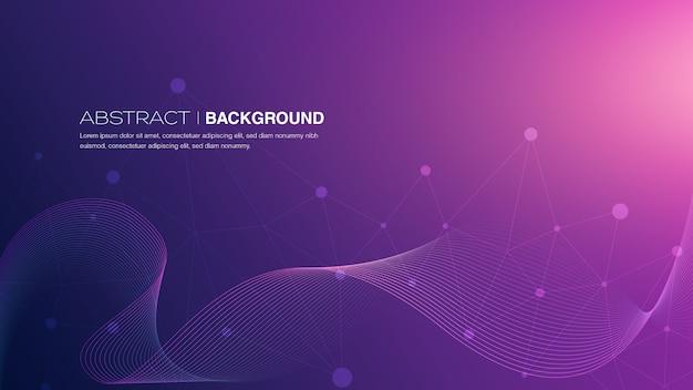 Abstract lines on purple gradient background Premium Vector