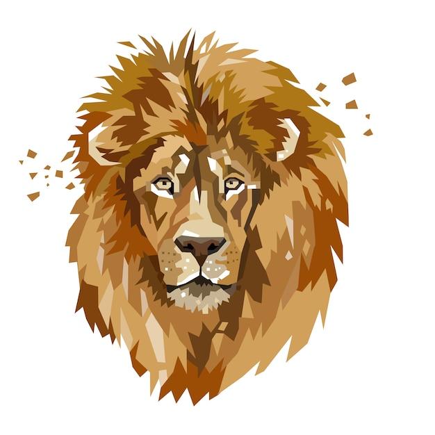 Абстрактная голова льва Premium векторы